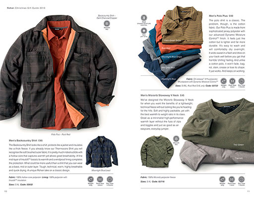 Outdoor clothing catalogue production