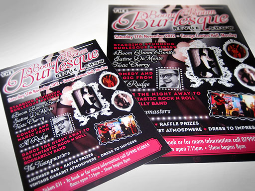 Theatre show promotional material design, artwork and printing