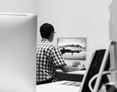 Freelance artworker in Manchester studio