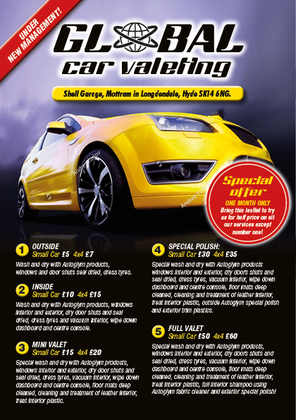 Car Valet Leaflet Design