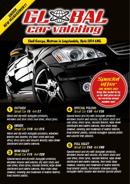 Car valet leaflet design and printing