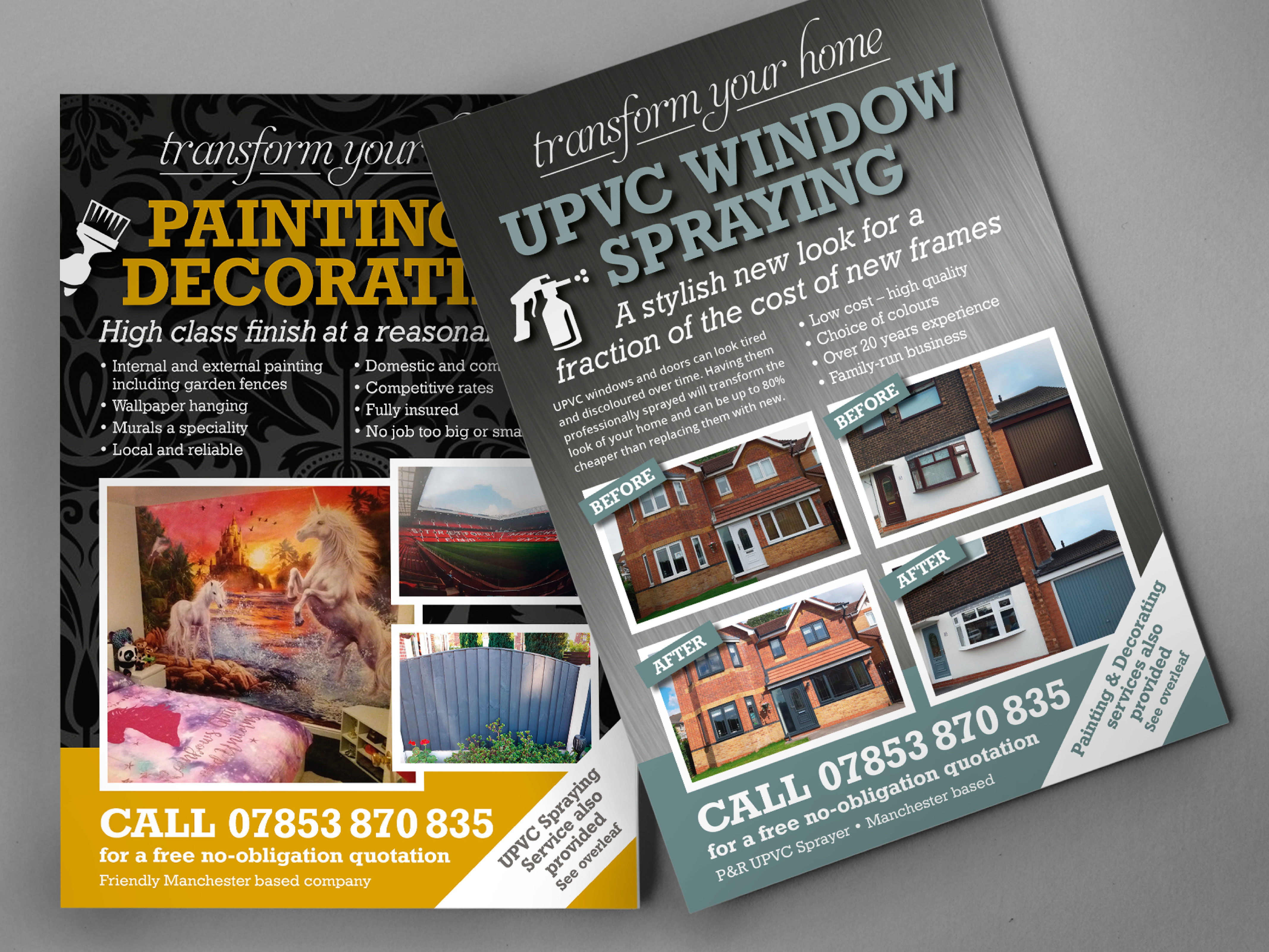 Design and printing of a leaflet promoting a UPVC spraying service in Dukinfield, Tameside.